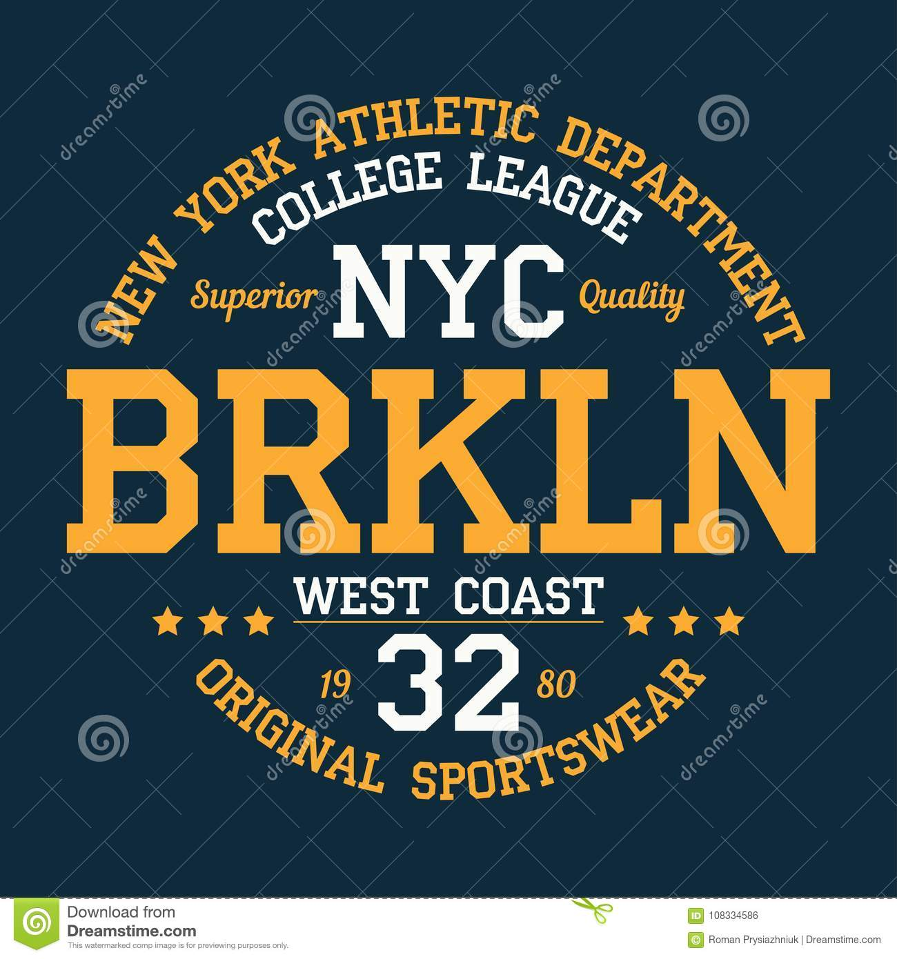 6401110c New York, Brooklyn - typography for design clothes, athletic t-shirt.  Graphics for print product, apparel. Vector.