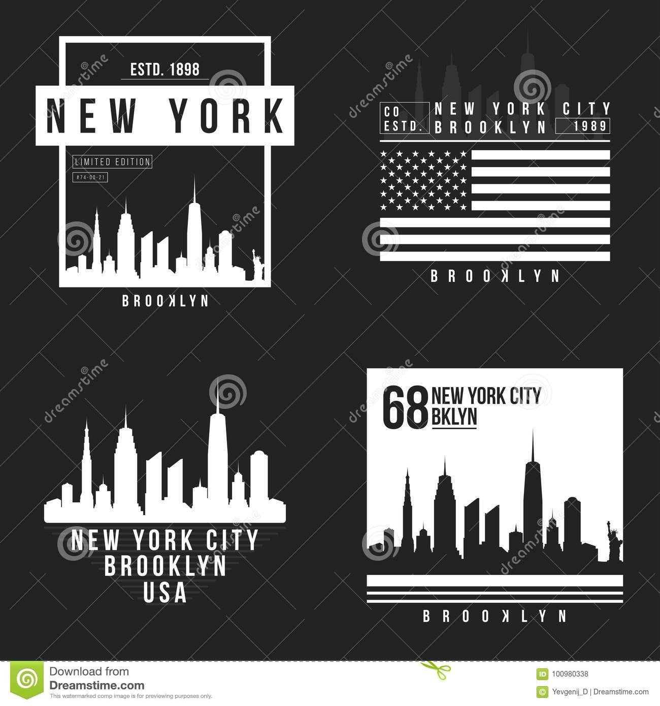 895cda9c New York, Brooklyn typography for t-shirt print. New York City skyline for  tee graphic. T-shirt design collection. Vector
