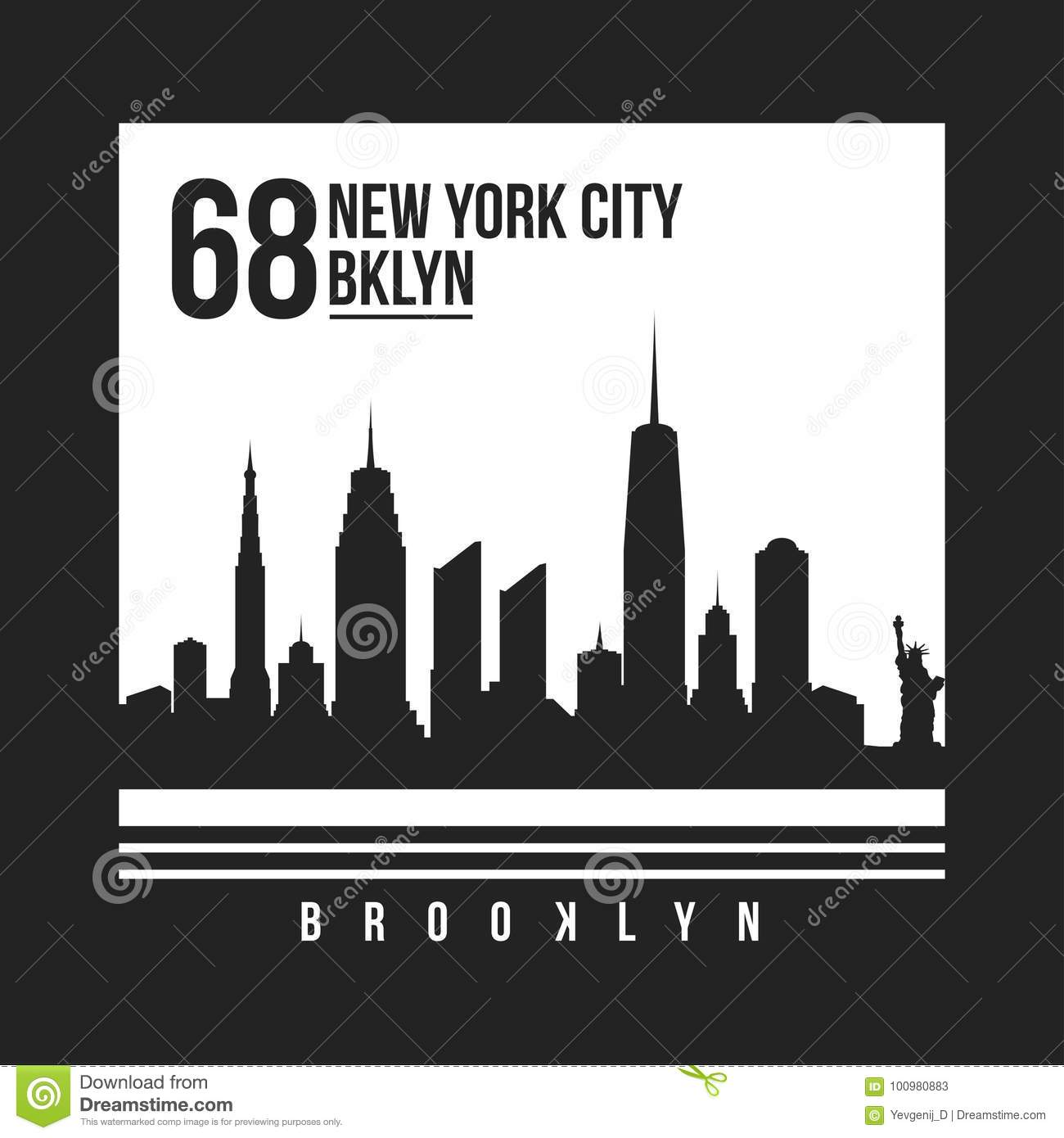 New York, Brooklyn typography for t-shirt print. New York City skyline for tee graphic. T-shirt design