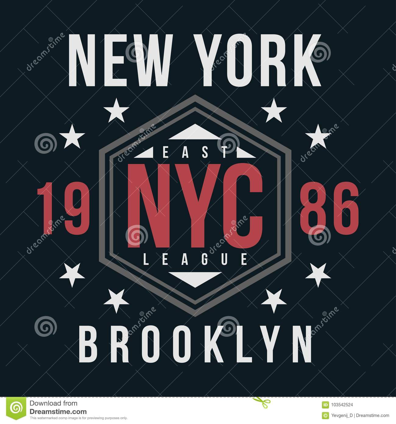 New York, Brooklyn Typography For T-shirt Print  Vintage Badge For T
