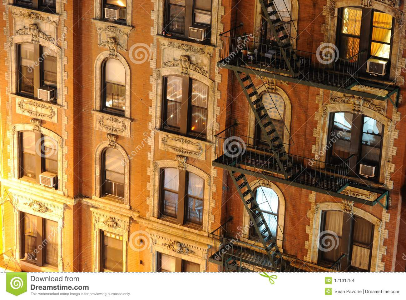 City Apartment Building New York City Apartment Building Close Up Stock Images