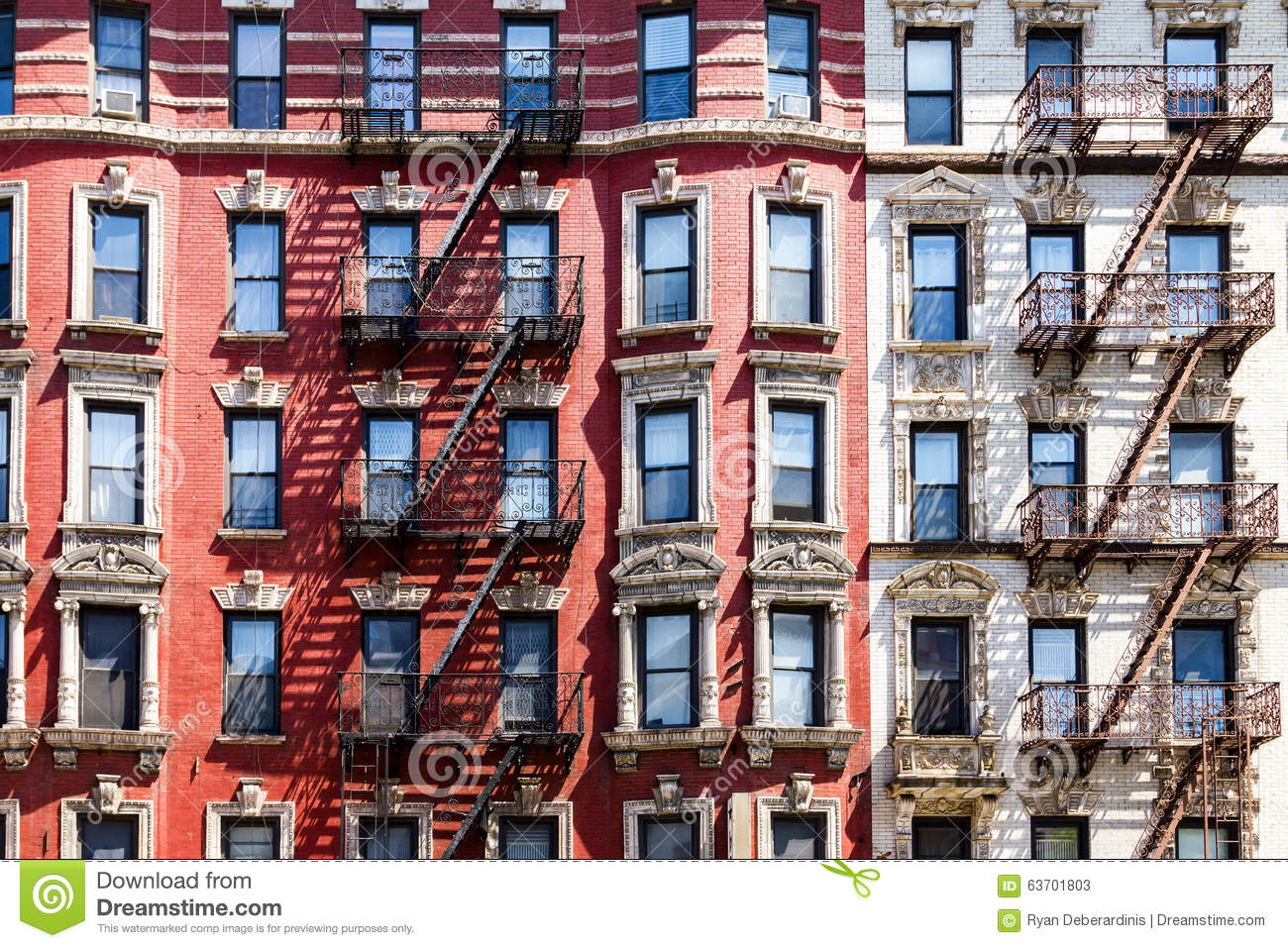 New York City Apartment Building Windows Stock Photo Image