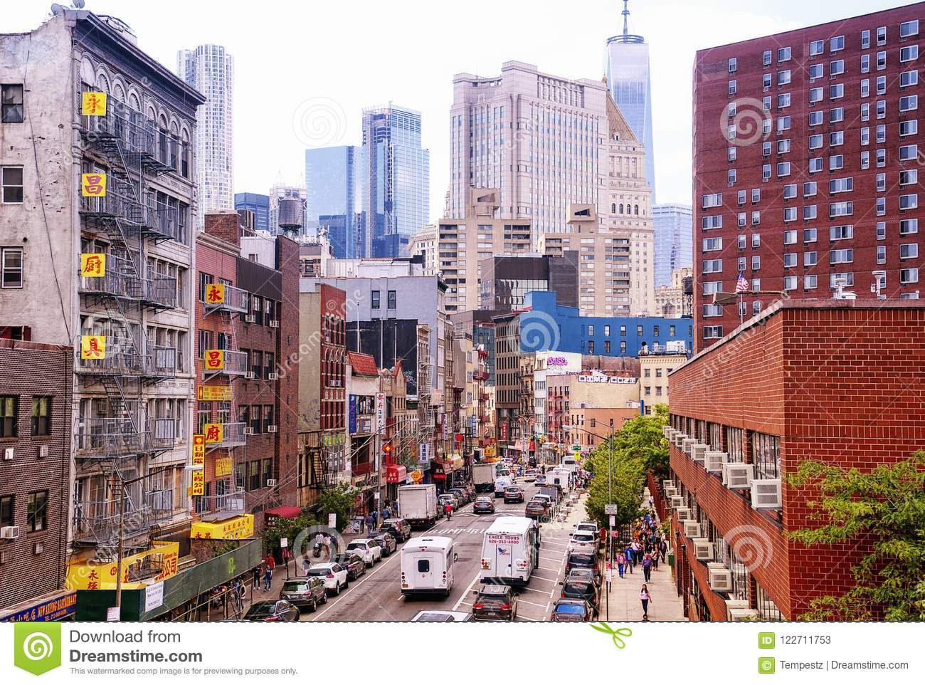 new york city apartment buildings chinatown editorial stock photo