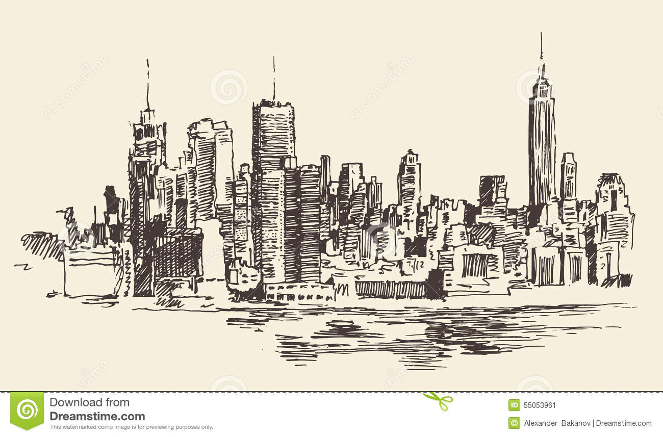 Line Drawing Nyc : New york city architecture engraved illustration stock
