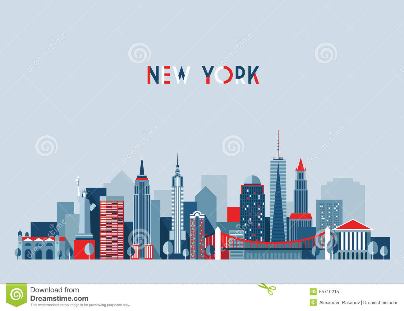 Bien-aimé New York City Architecture Vector Illustration Stock Vector  CP04