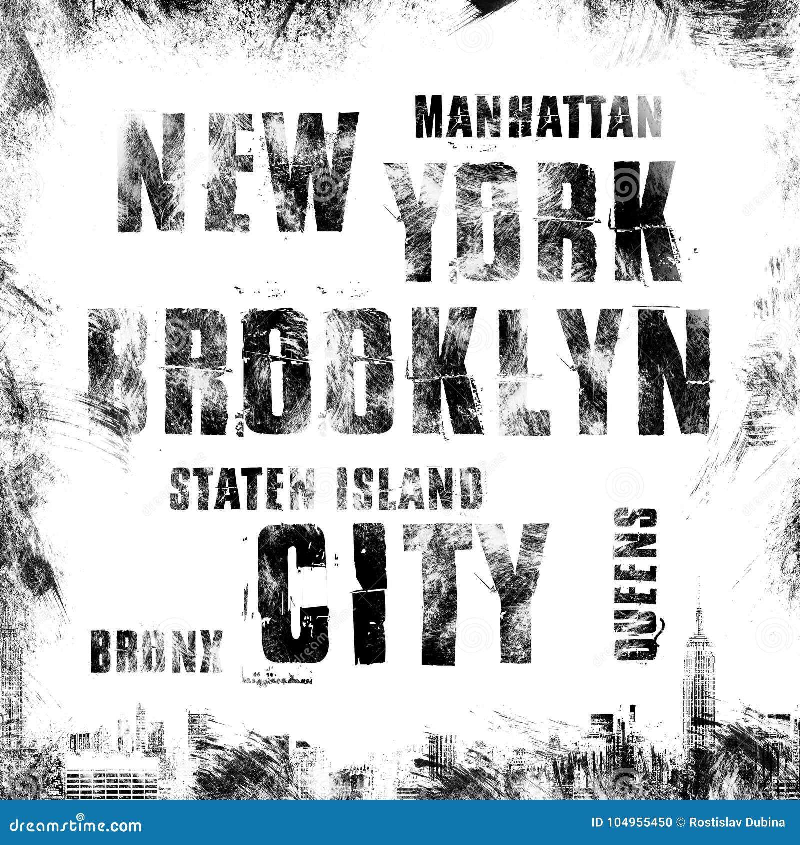 New York City Art. Street Graphic Style NYC. Fashion Stylish Print ...