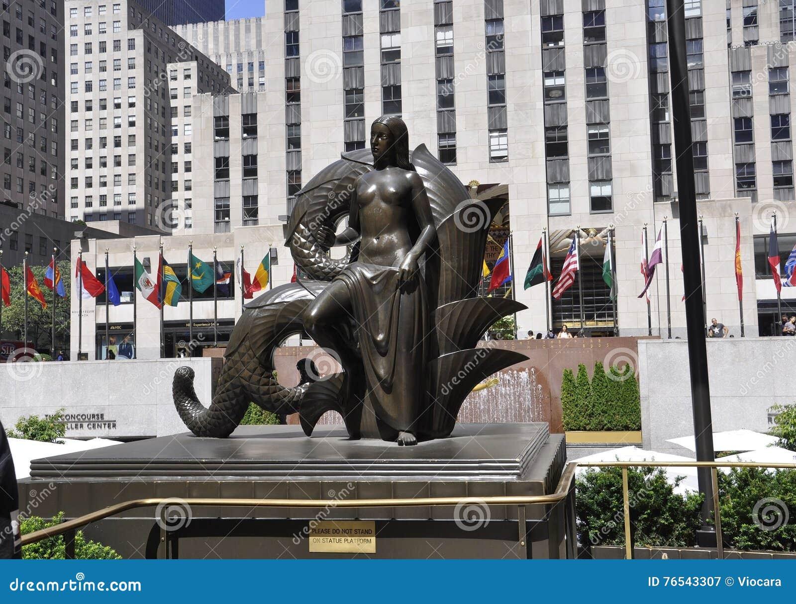 New York City,August 2nd:Lower Rockefeller Plaza Statue from Manhattan in New York City