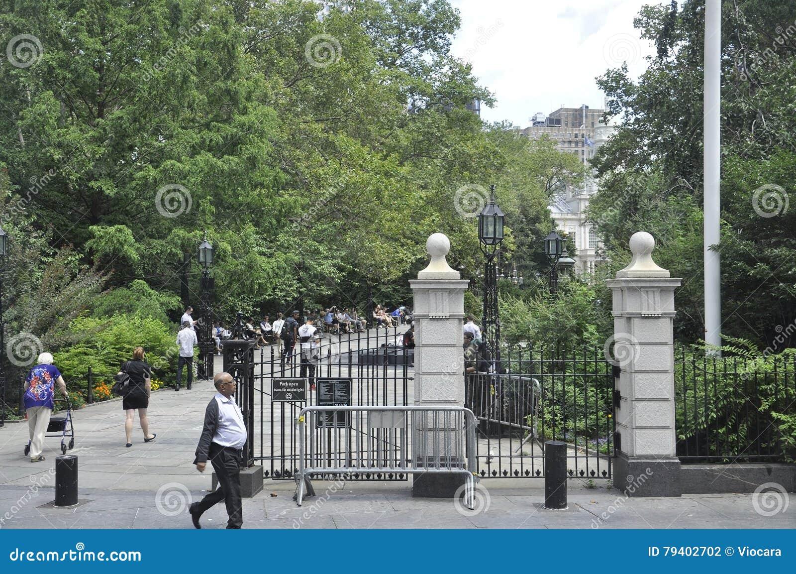 New York City, am 2. August: Stadt Hall Park von Manhattan in New York City