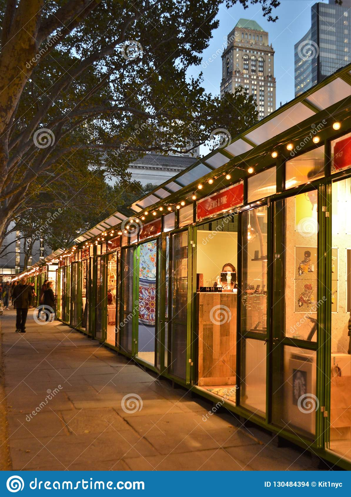 New York Christmas Time.New York City Bryant Park Holiday Lights Shops Stores