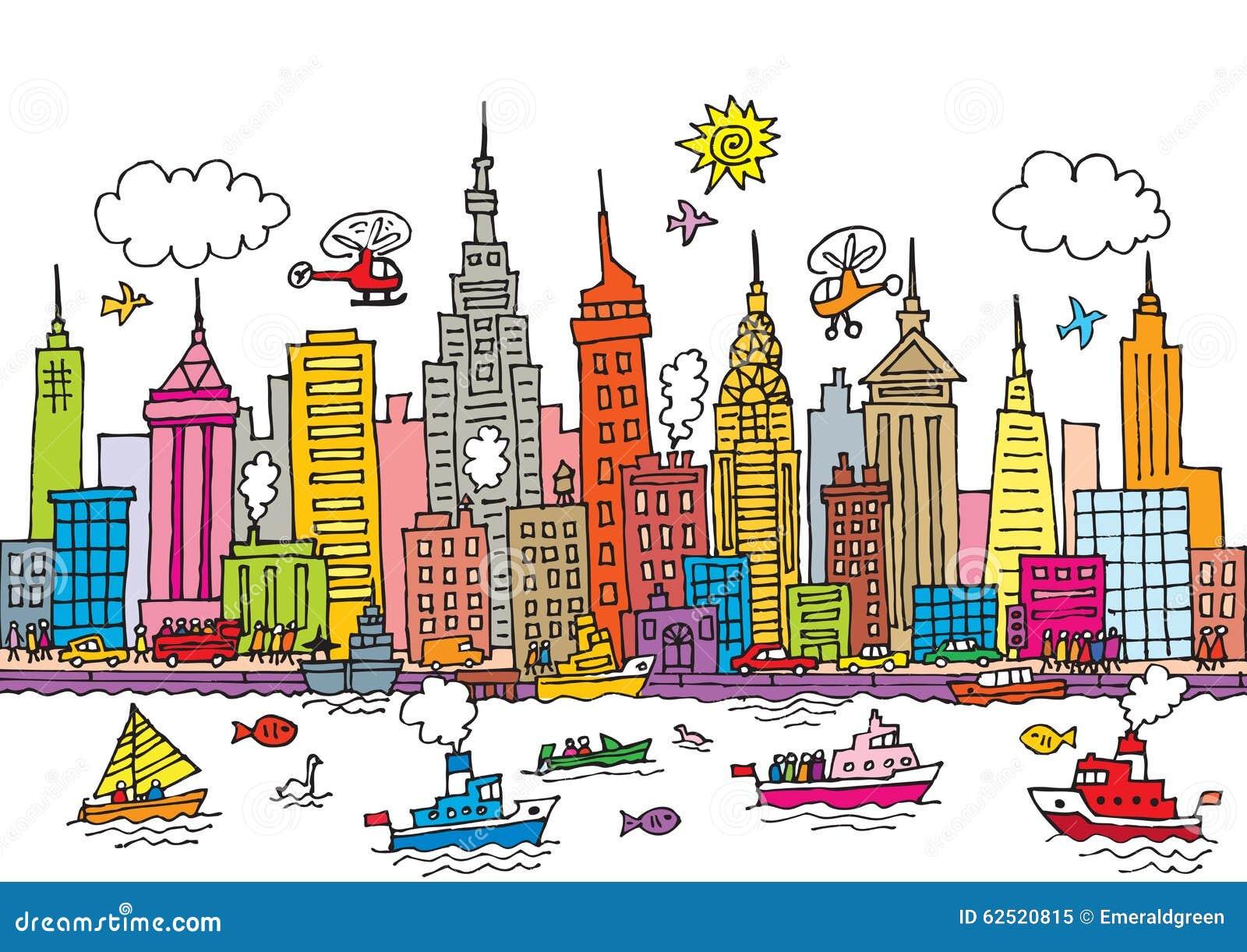 Cartoon Map Of New York City.New York City Stock Vector Illustration Of Cars Apple 62520815