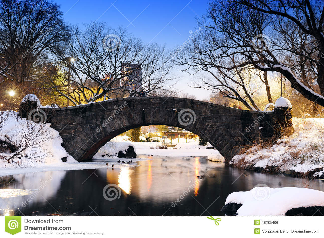 New York City Central Park Bridge In Winter Royalty Free ... Central Park Winter Painting