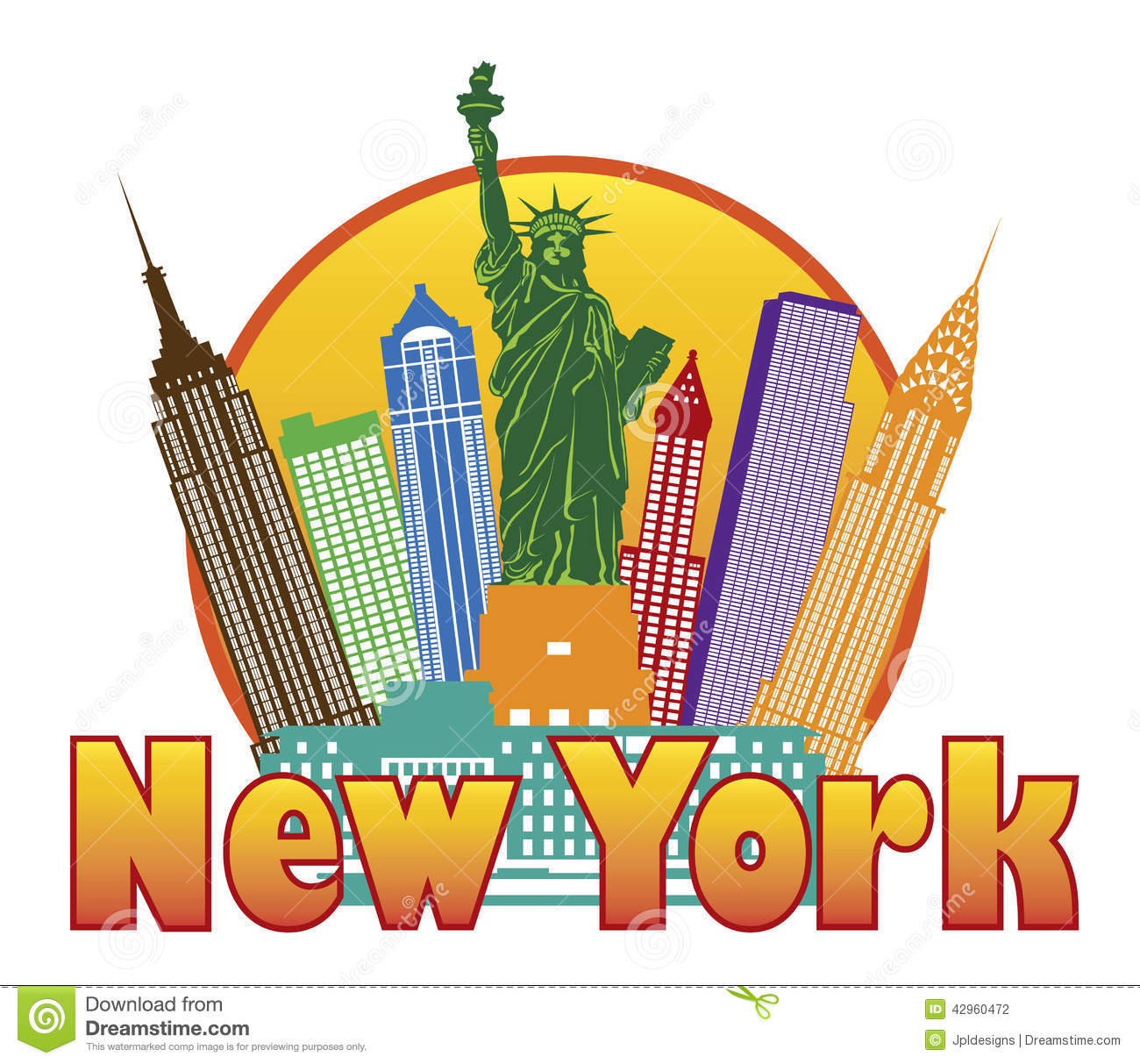 New York City Colorful Skyline with Statue of Liberty in Circle ...