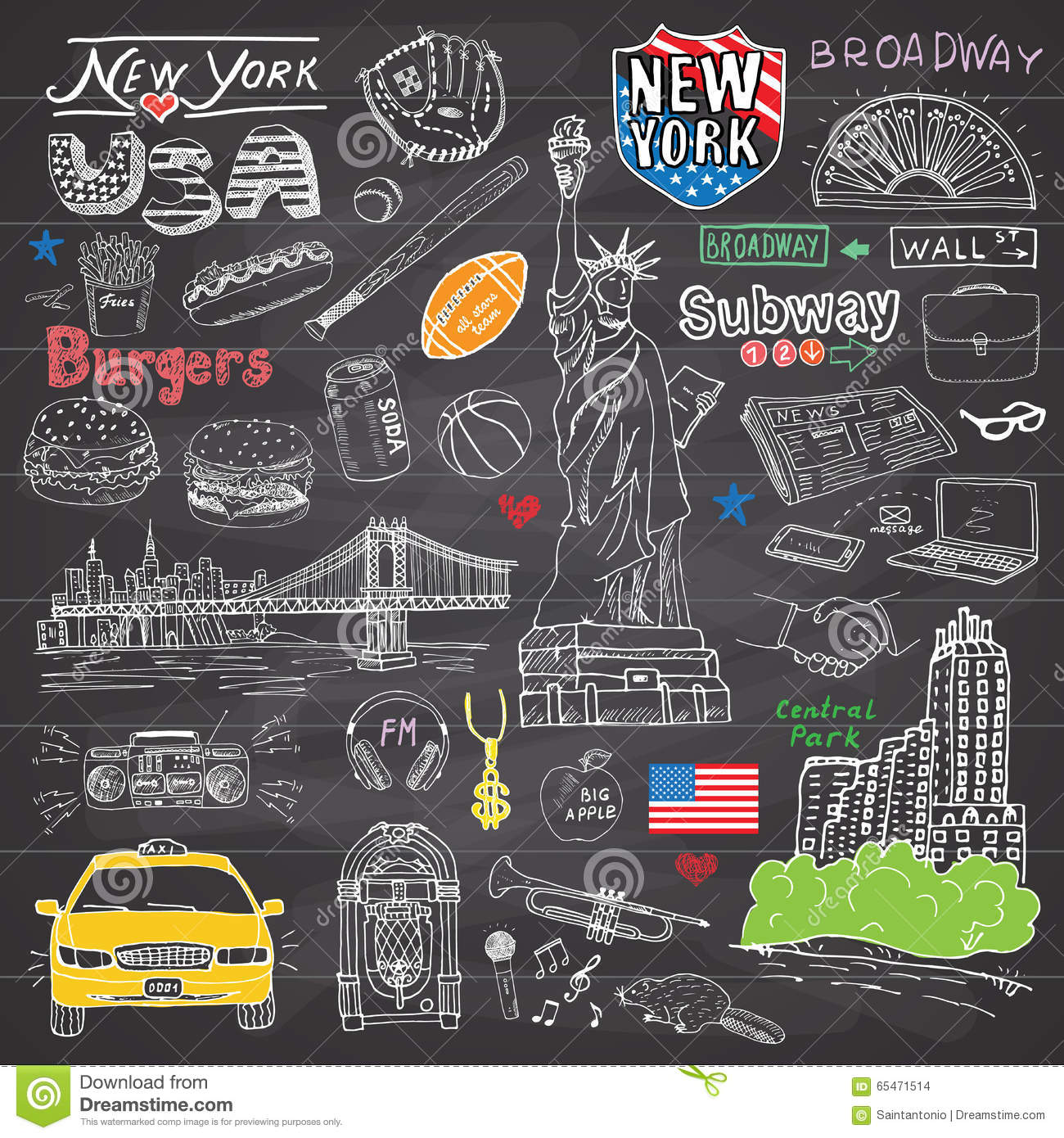New York city doodles elements collection. Hand drawn set with, taxi, coffee, hotdog, burger, statue of liberty, broadway, music,