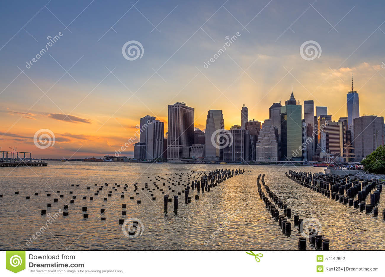 New york city downtown skyline in beautiful sunset stock for New york city beautiful