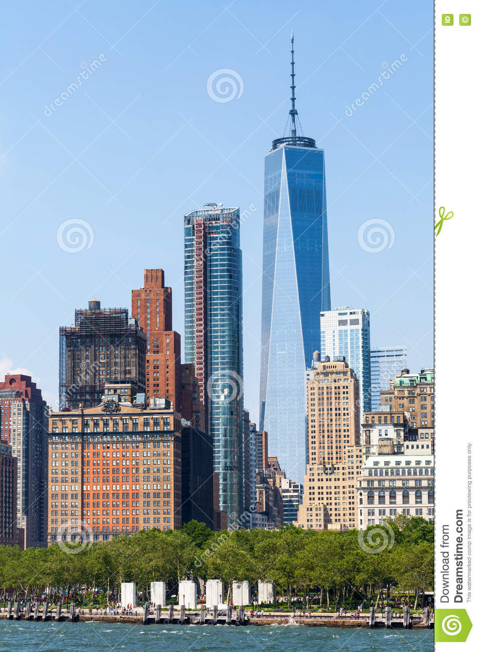 new york city en los rascacielos del lower manhattan y un world trade center