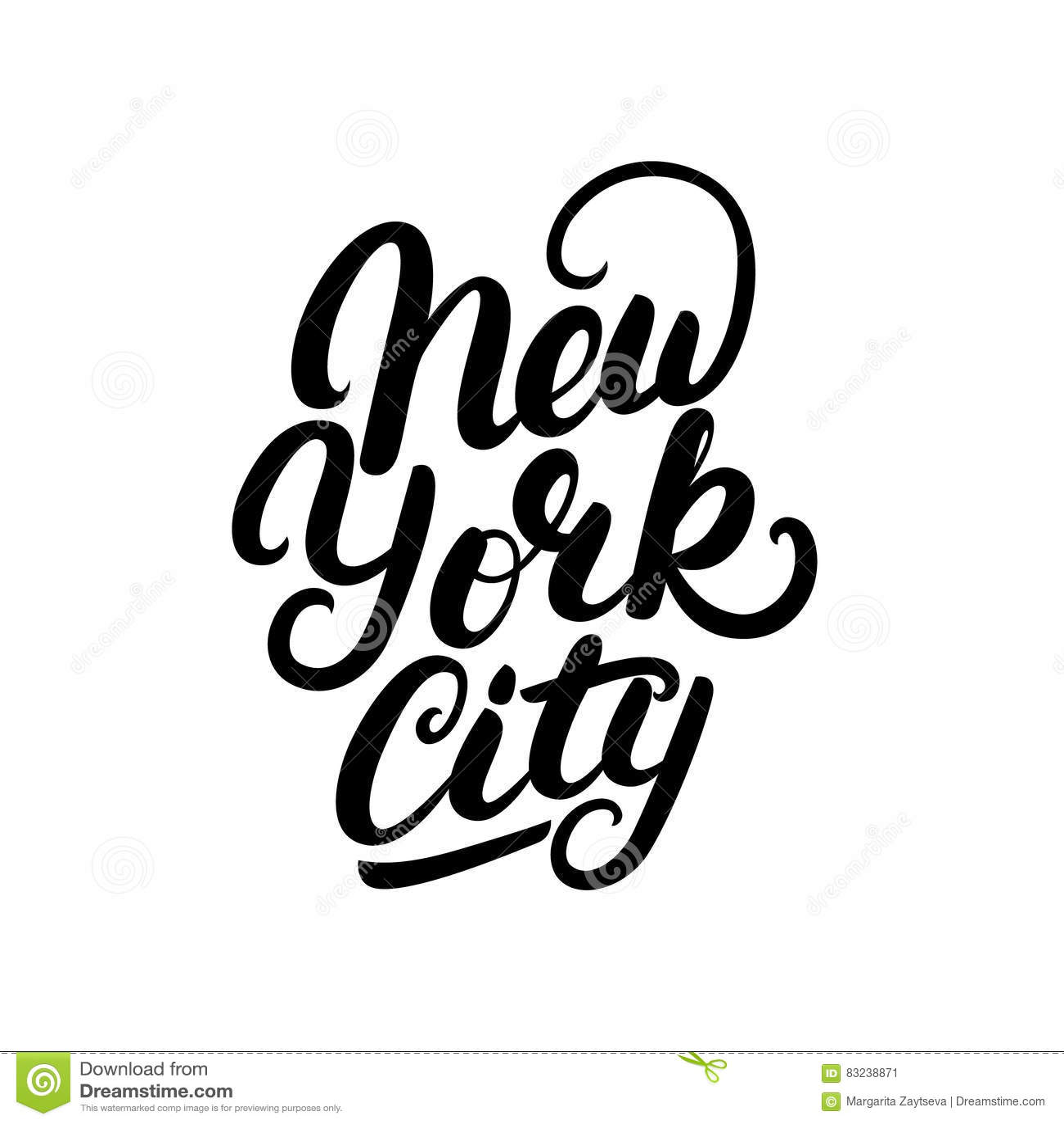 New york city hand written lettering stock vector image