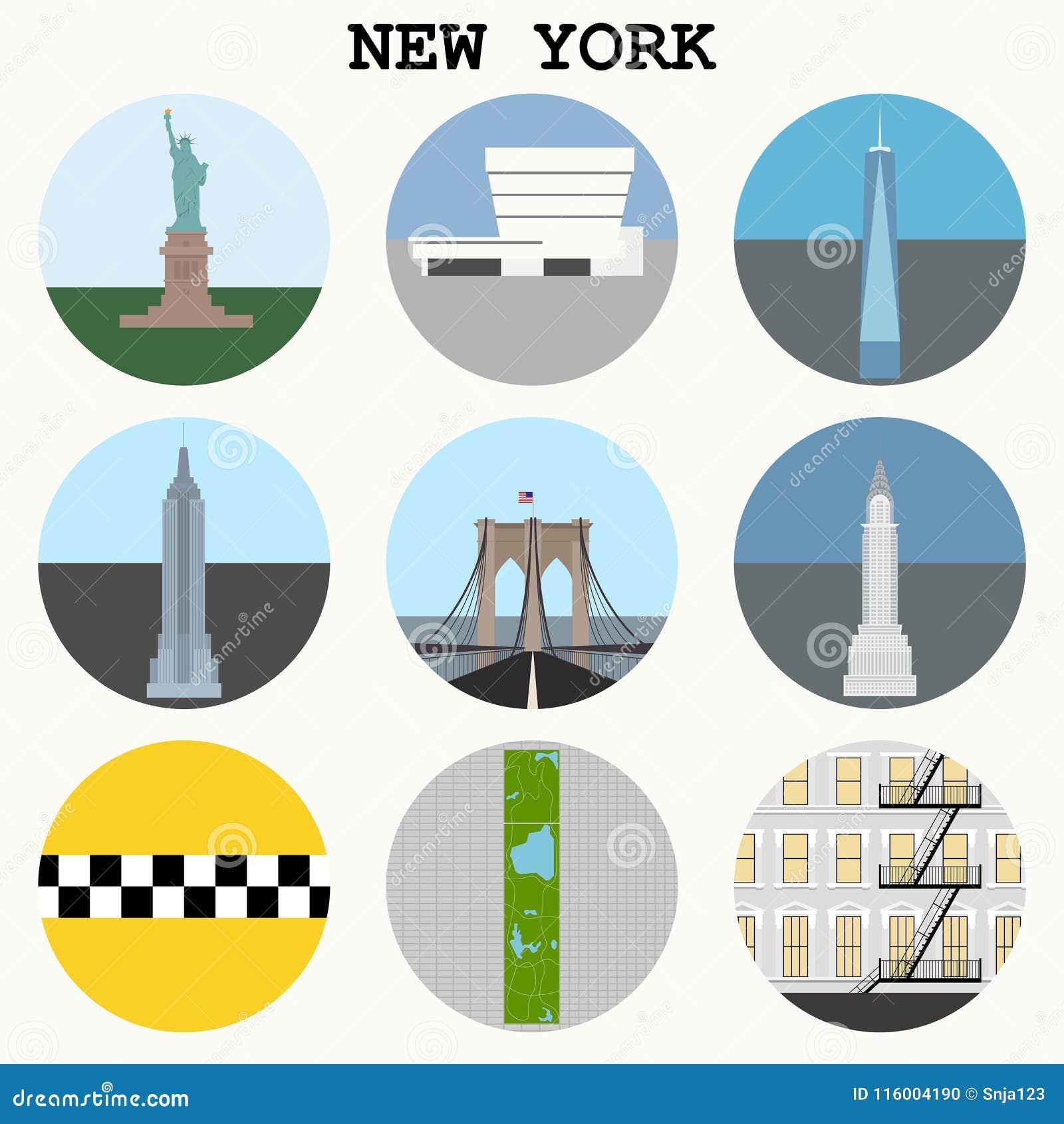 New York City Landmarks Symbols Vector Stock Vector