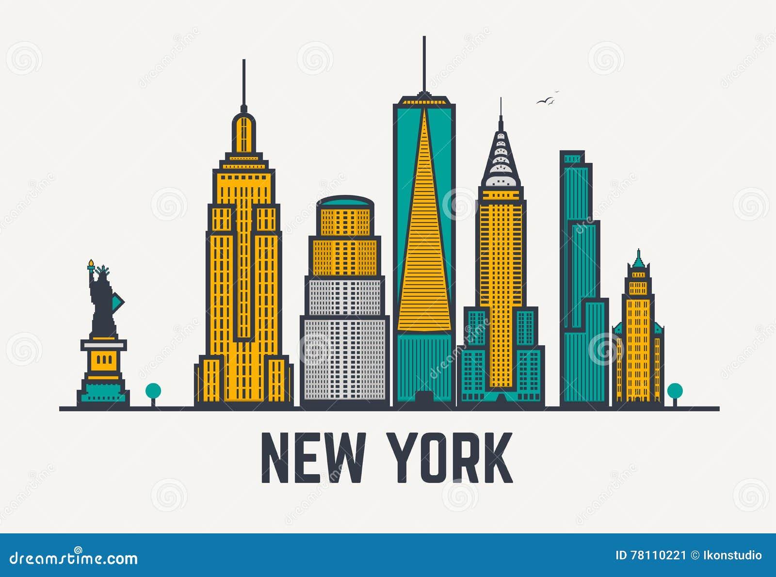 Line Art New York : New york city lines stock vector image