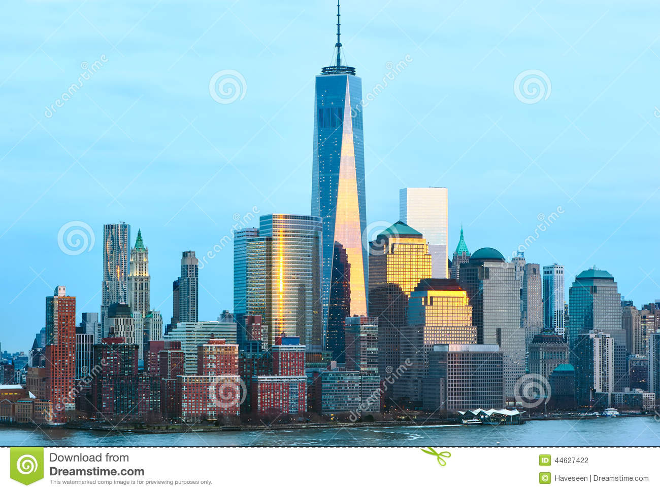 a7c8afce8ea New York City Manhattan skyline with One World Trade Center Tower (AKA  Freedom Tower) over Hudson River viewed from New Jersey