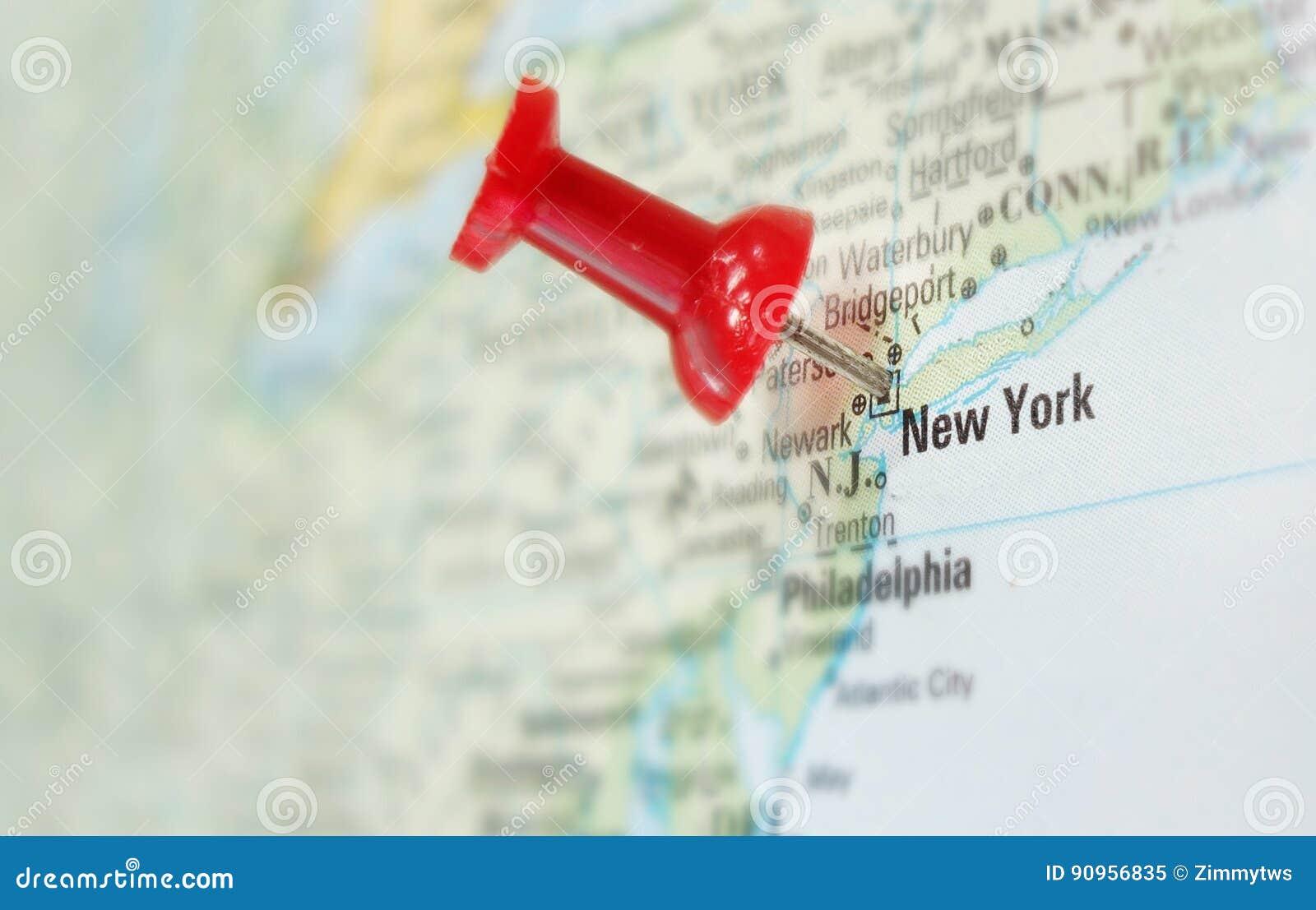 Cartina America New York.New York City Map Stock Image Image Of Tack Search 90956835