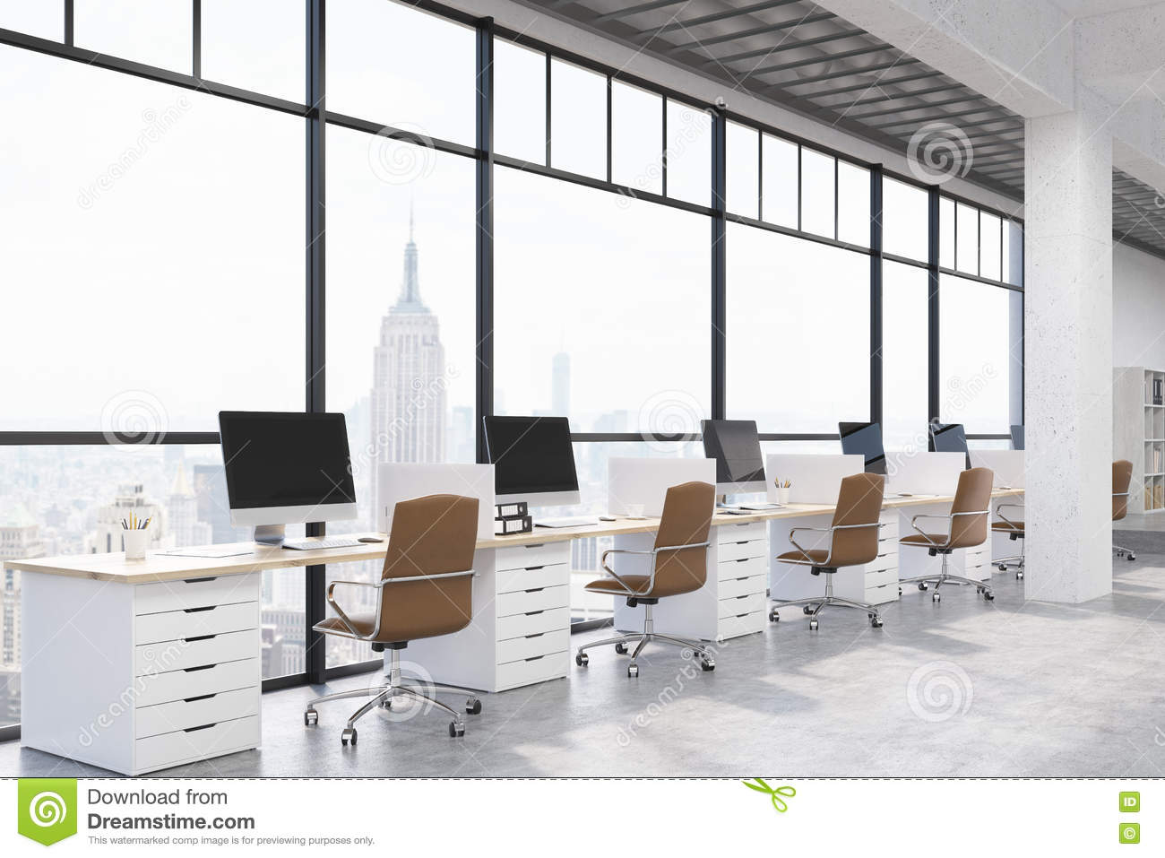 Royalty Free Illustration  Download New York City Modern Office. New York City Modern Office Interior Stock Illustration   Image