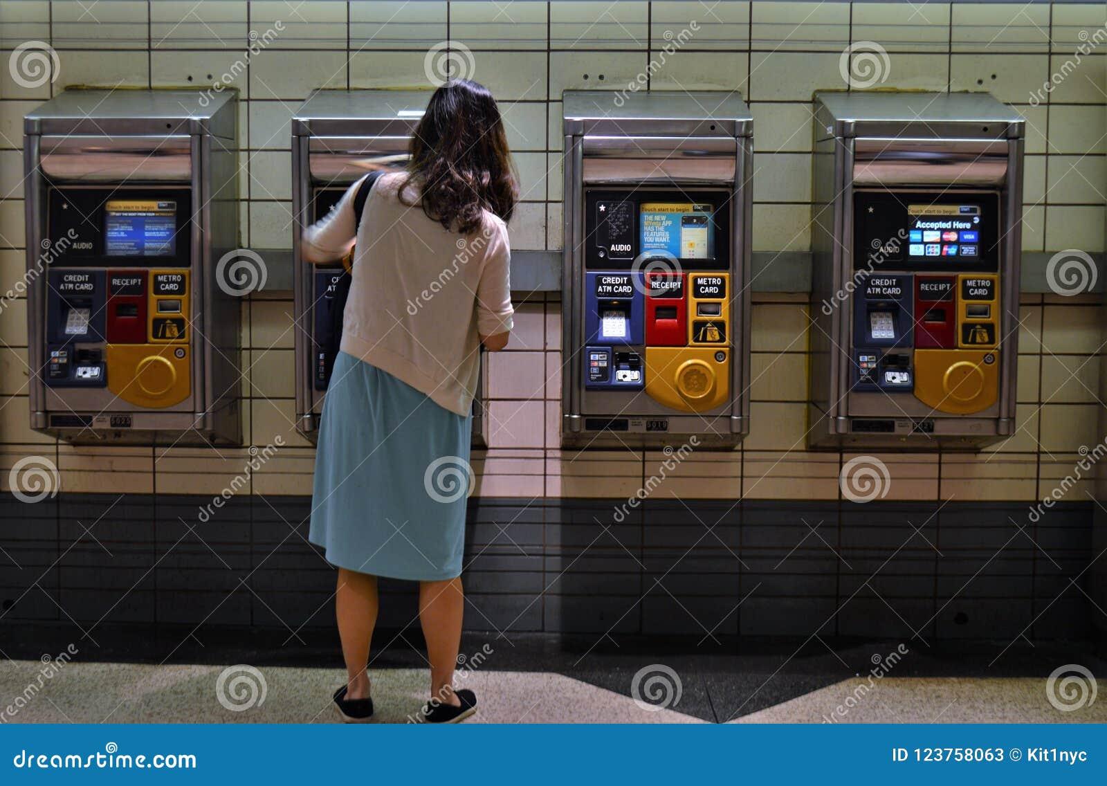 New York City MTA Subway Metro Card Vending Machine People ...
