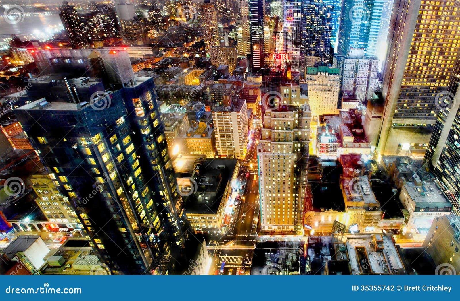 New York City Night Lights Stock Photography - Image: 35355742  New York City N...