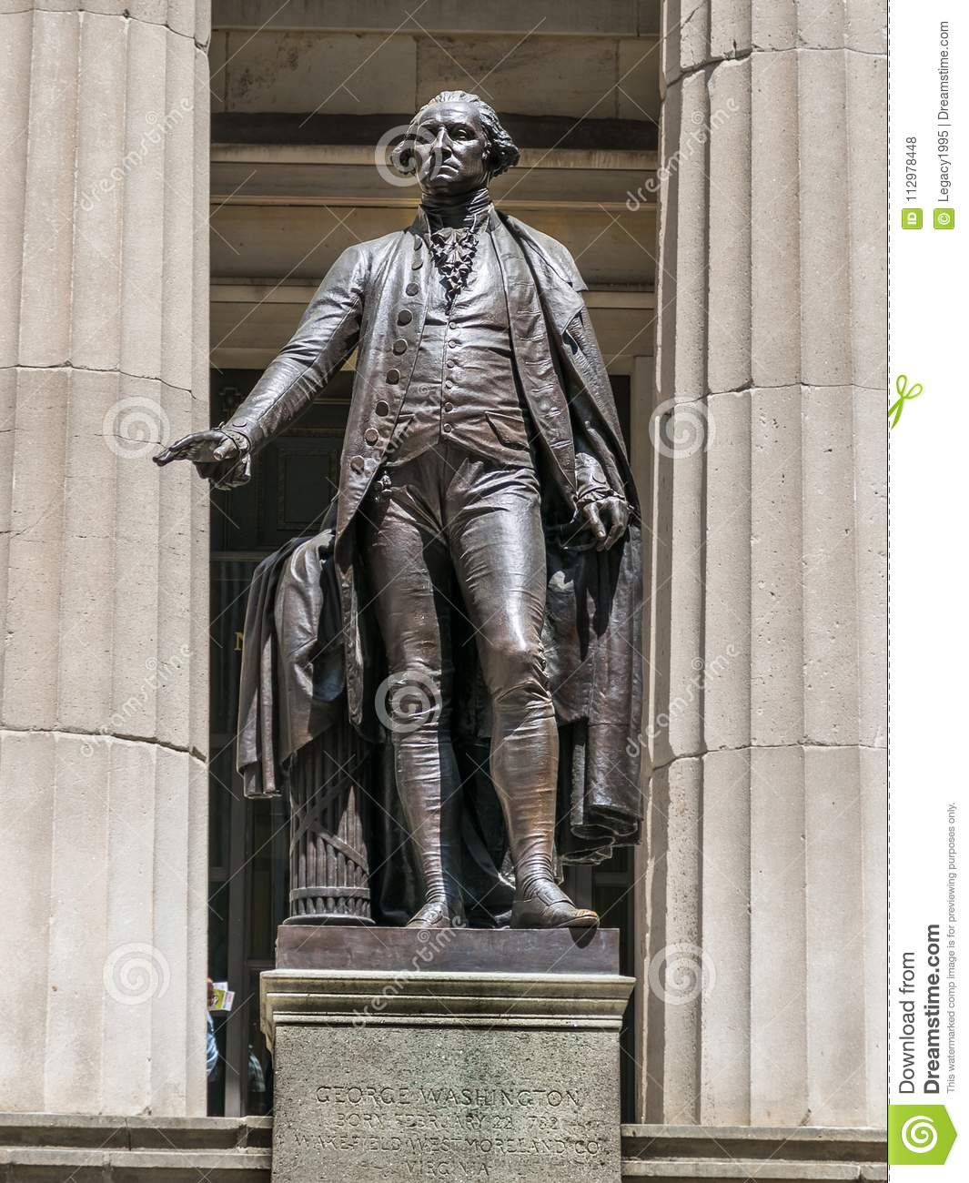 New York City George Washington Statue on Wall Street
