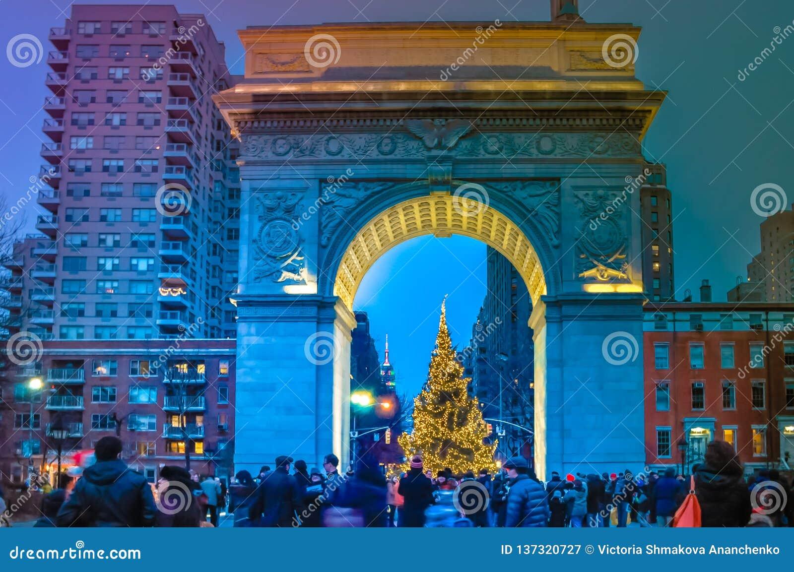 Christmas Tree With Festive People At Washington Square ...
