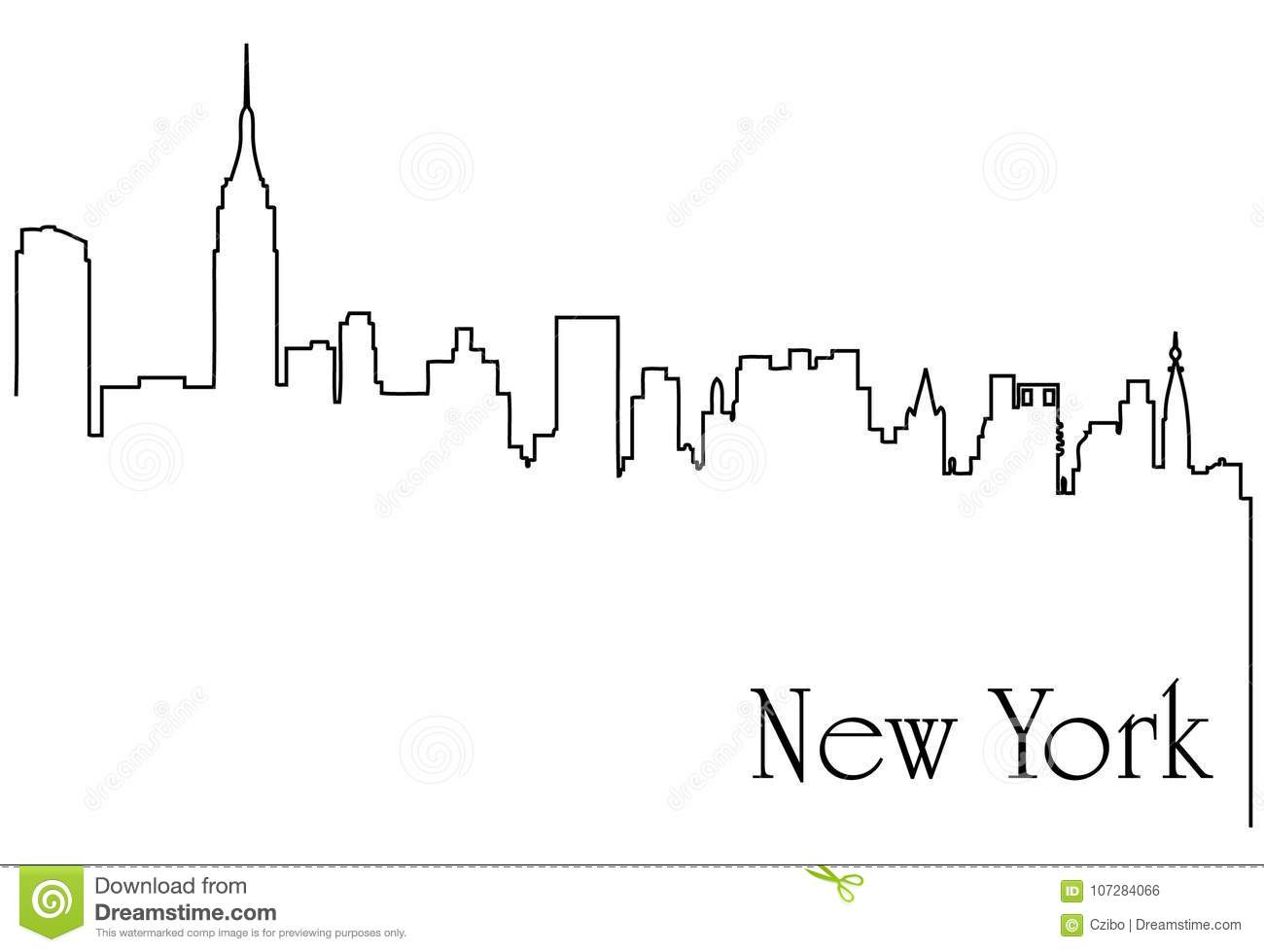 Line Art New York City : New york city one line drawing abstract background stock