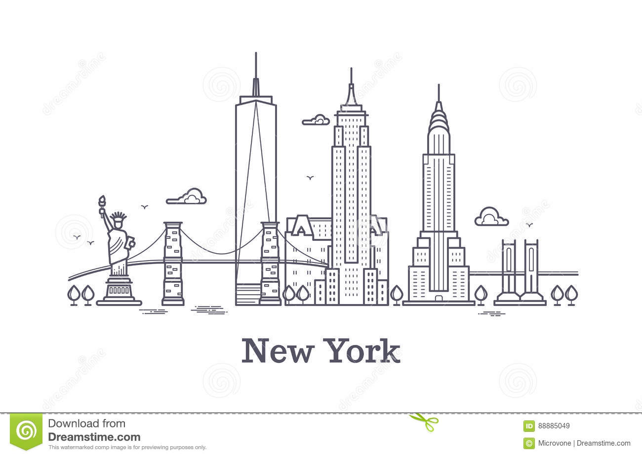 Line Drawing Nyc : New york city outline skyline nyc line silhouette usa