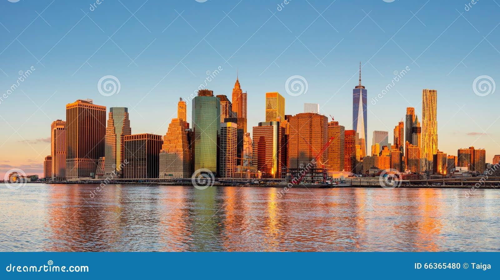 New York City panorama - Manhattan och affärsområde på