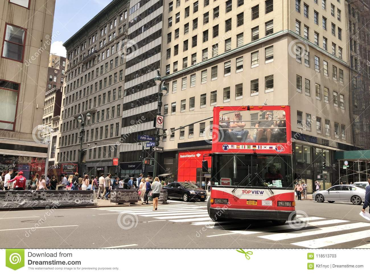 new york city red bus tour editorial stock photo. image of
