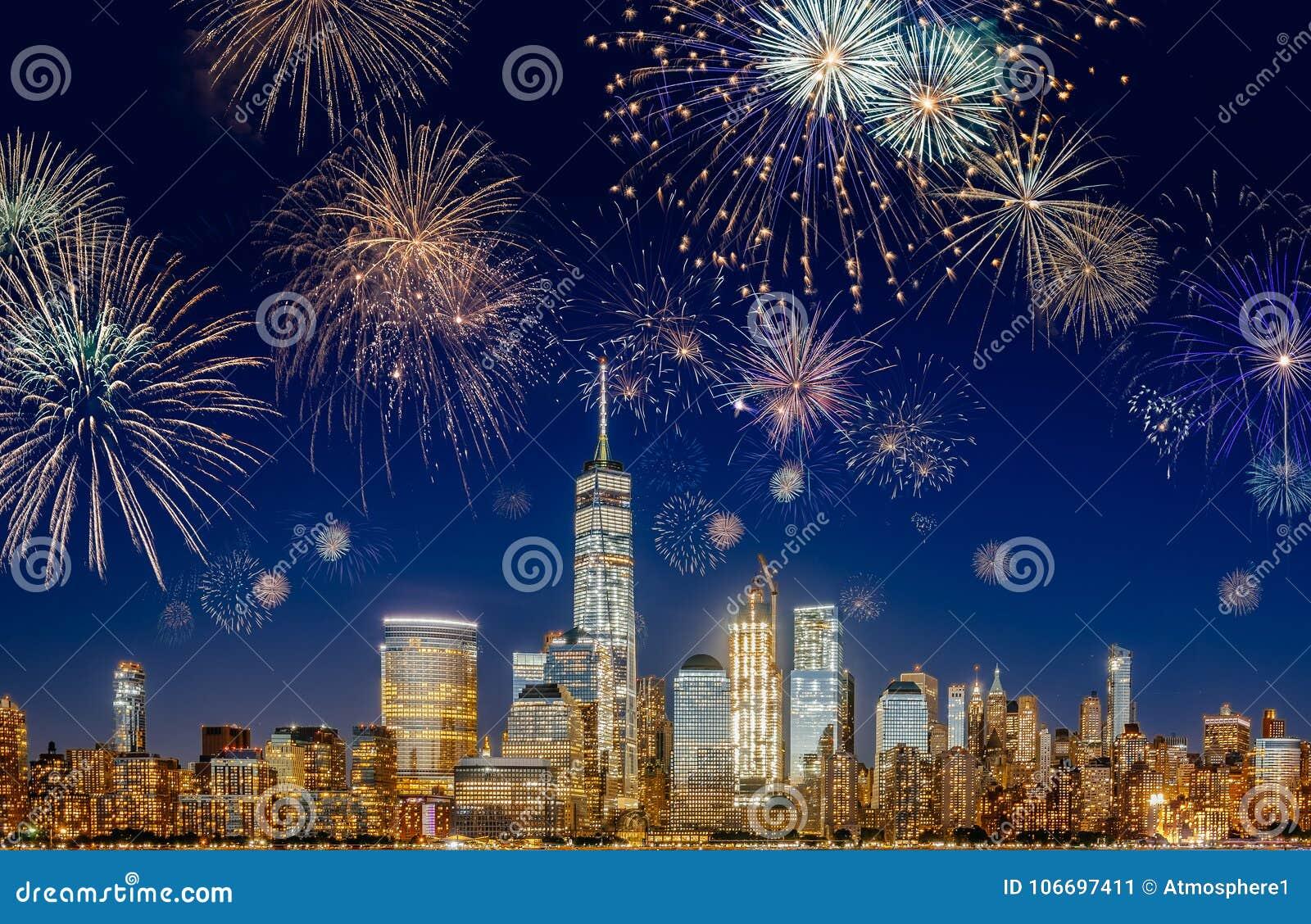 New York City Skyline with Flashing Fireworks - long exposure