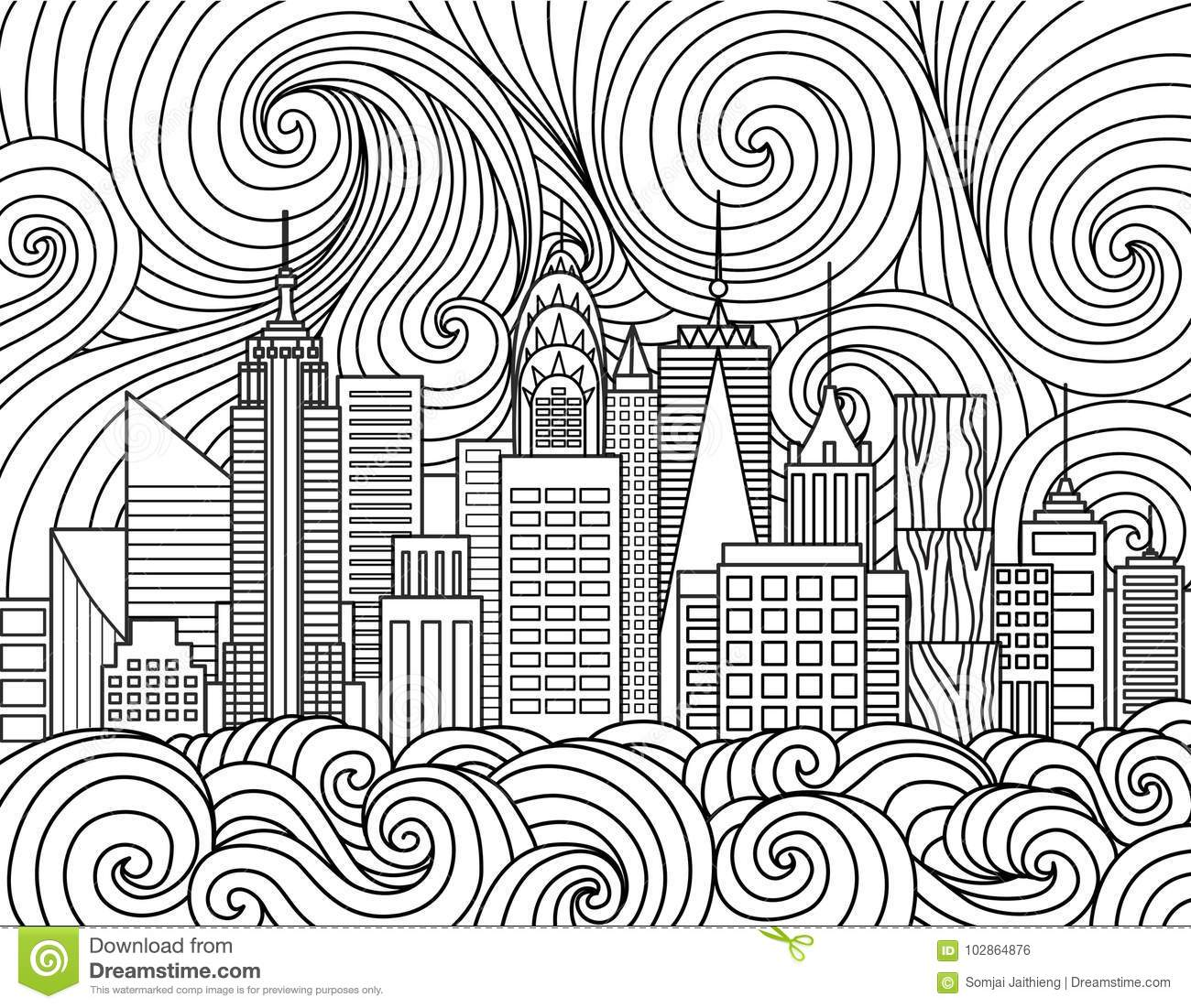 Line Art Design Of New York City Skyline For Element And Adult Coloring Book PageVector Illustration