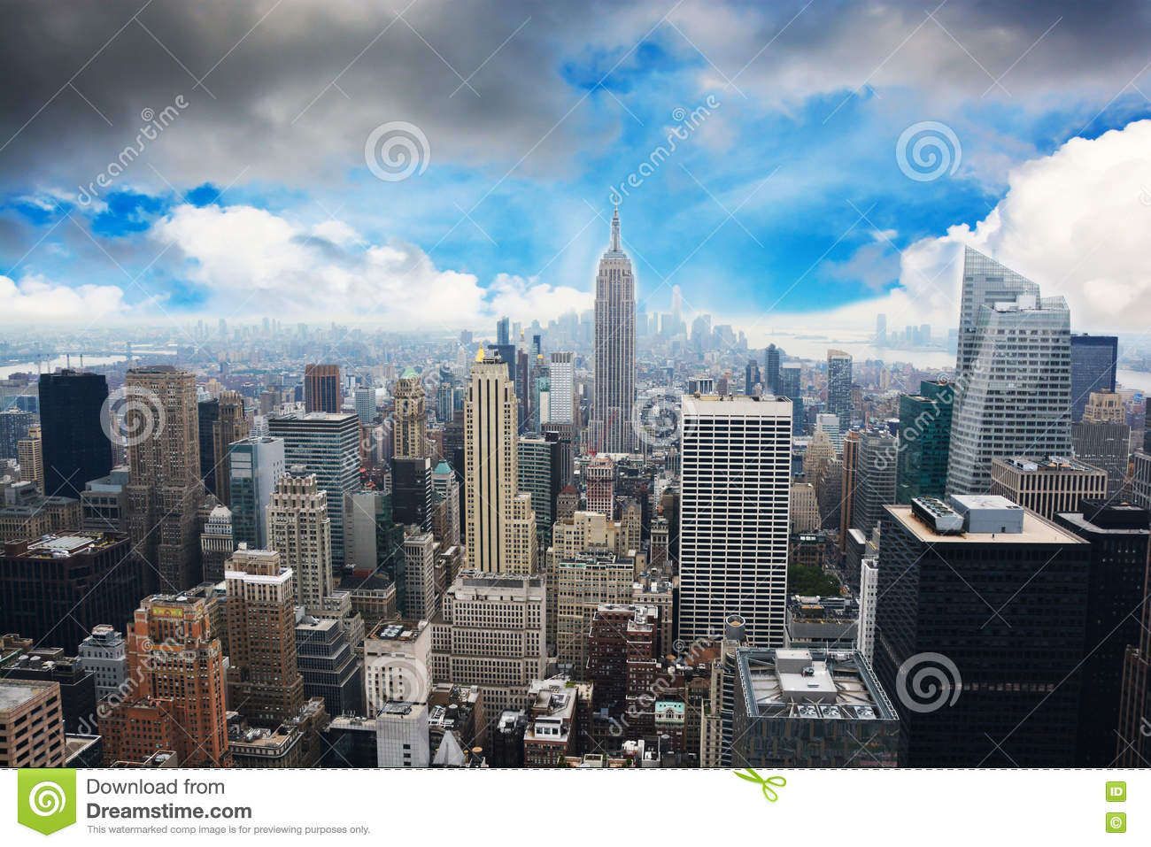 New York City Skyline Midtown And Empire State Building View From