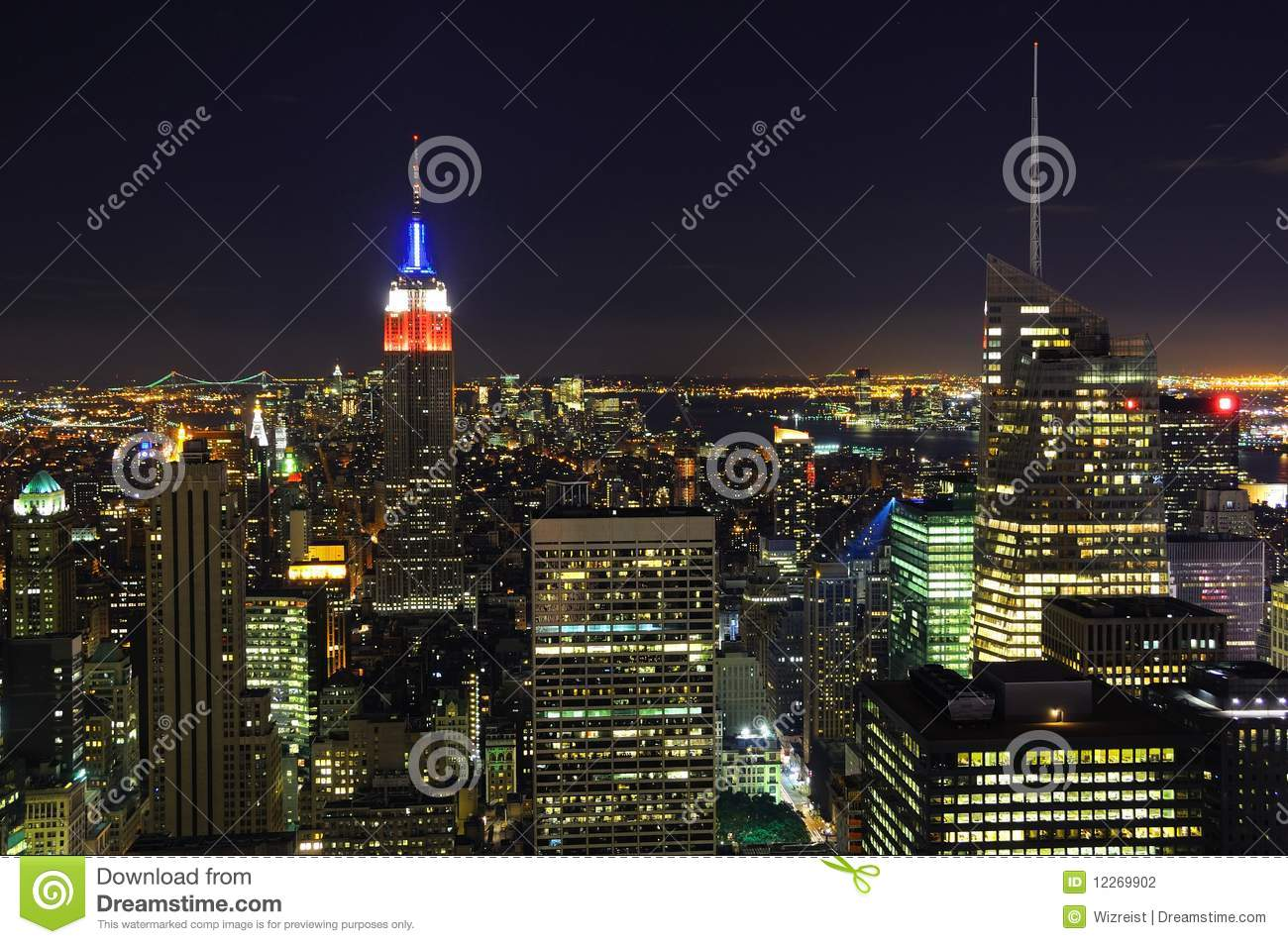 New York City Skyline At Night Stock Photography - Image: 12269902