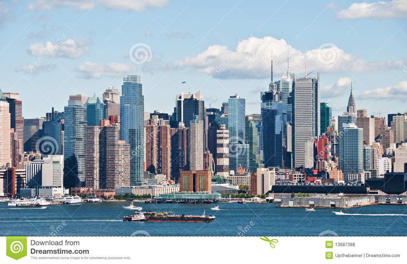 new york city skyline over hudson river stock photo image 13687388. Black Bedroom Furniture Sets. Home Design Ideas