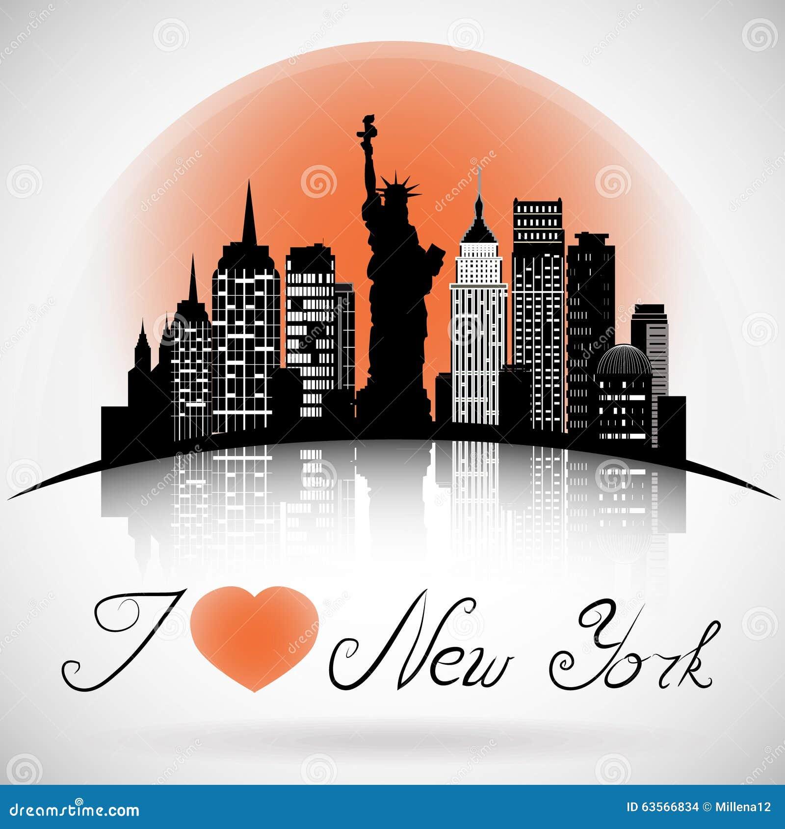 new york city skyline black and white illustration vector cartoon vector