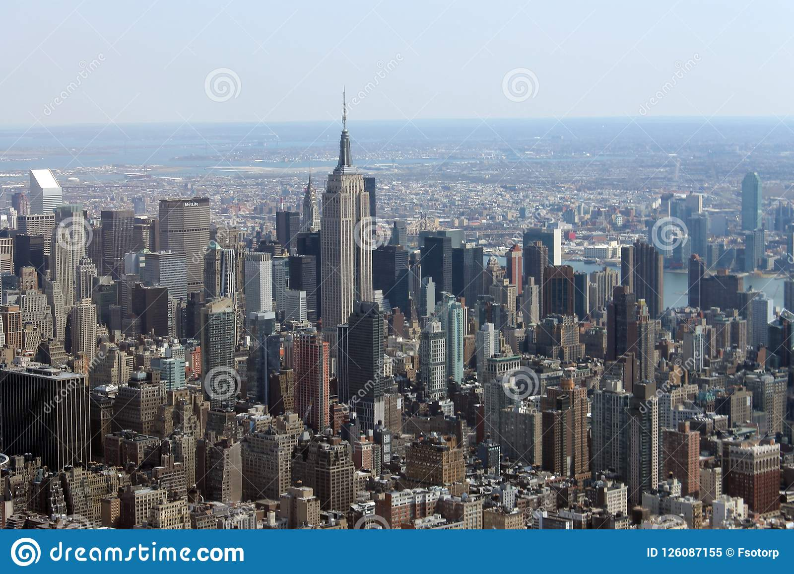 New York City Skyline Rockefeller Center Helicopter Editorial Image