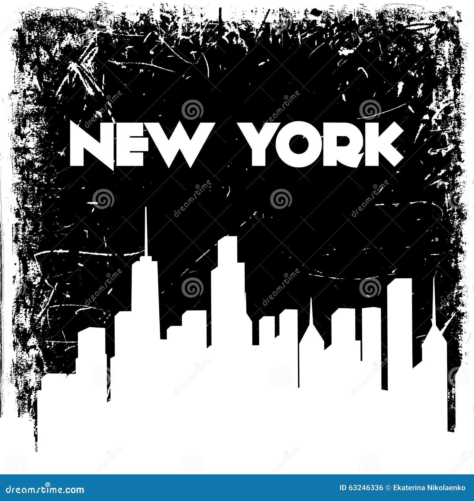 New York city skyline silhouette on grunge background. Vector hand drawn illustration.