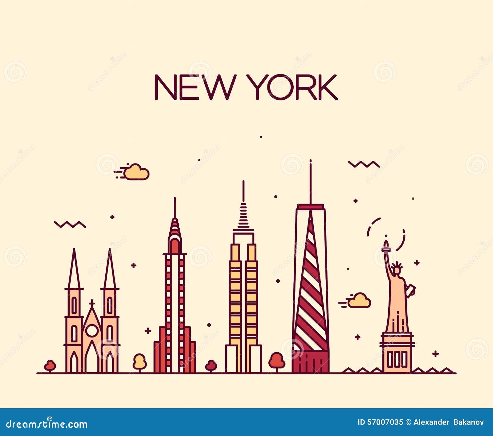 Line Art Illustration Style : New york city skyline silhouette line art style stock
