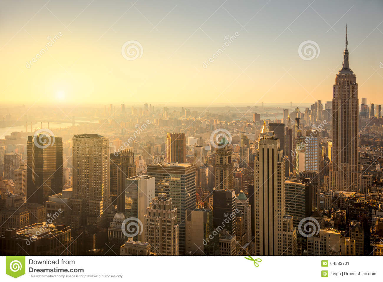 New York City Skyline With Urban Skyscrapers At Gentle Sunrise Stock ...