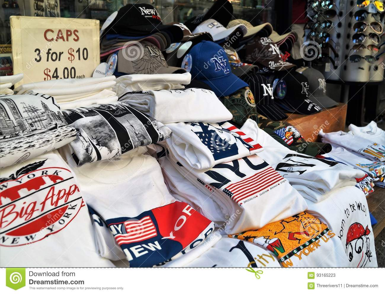 New York City Souvenir T-Shirts For Sale Editorial Stock Photo ... a190b3c7aed