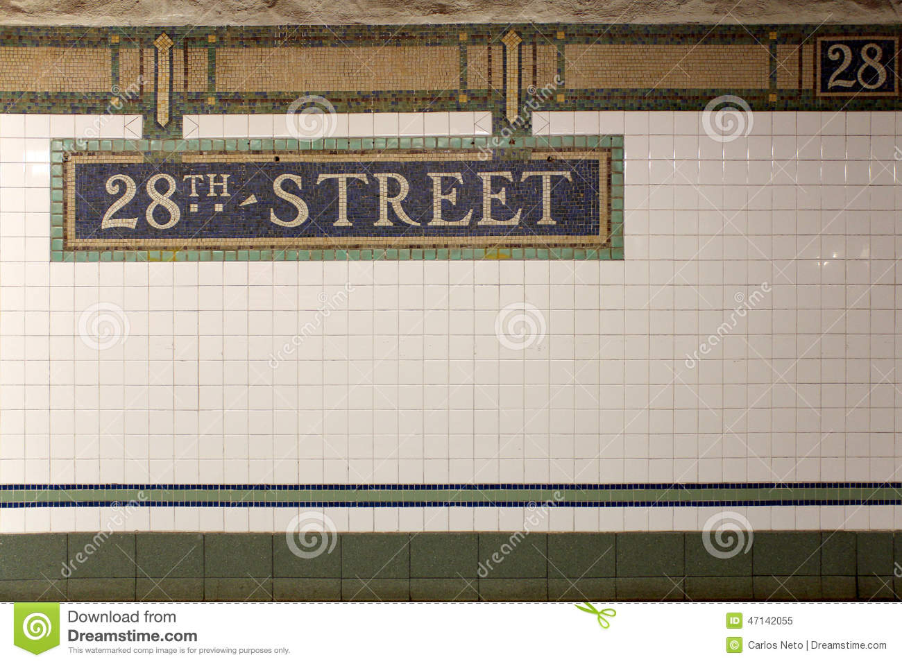 New york city station subway 28th street sign on tile wall stock new york city station subway 28th street sign on tile wall dailygadgetfo Choice Image