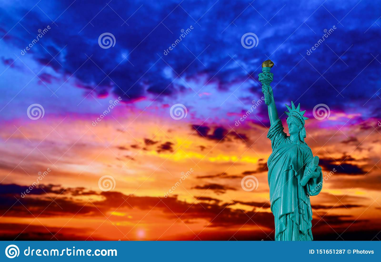 New York City Statue of liberty at sunset with American Symbol US