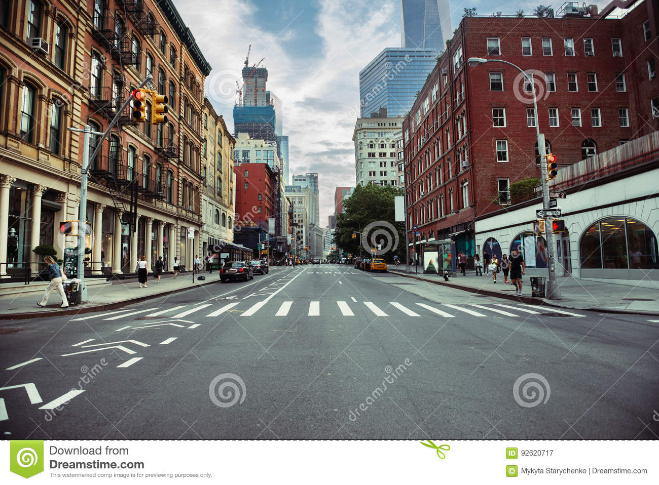 New York City street road in Manhattan at summer time. Urban big city life concept background