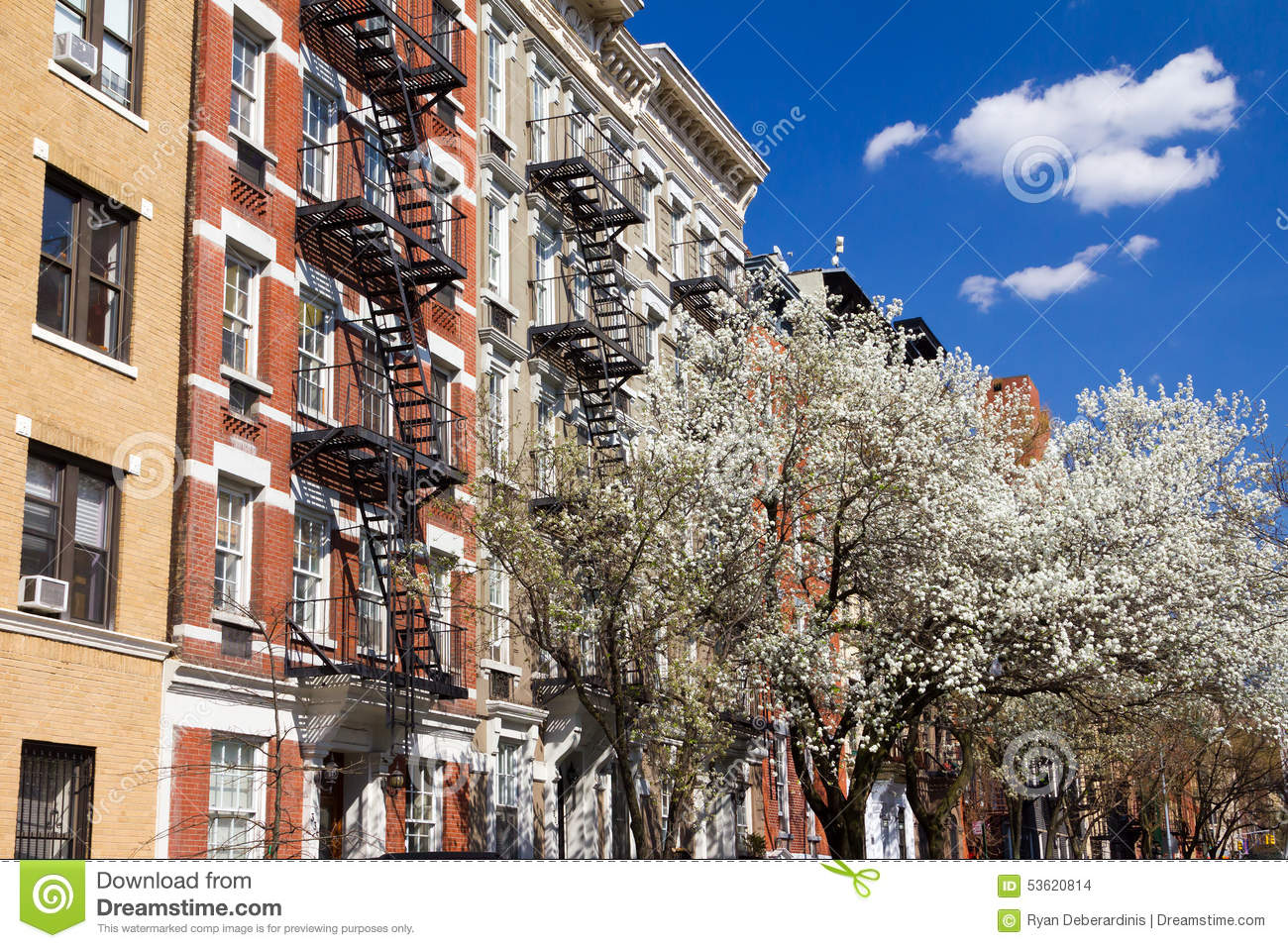 New York City Blue And White Brick Apartment Buildings Stock Photo ...