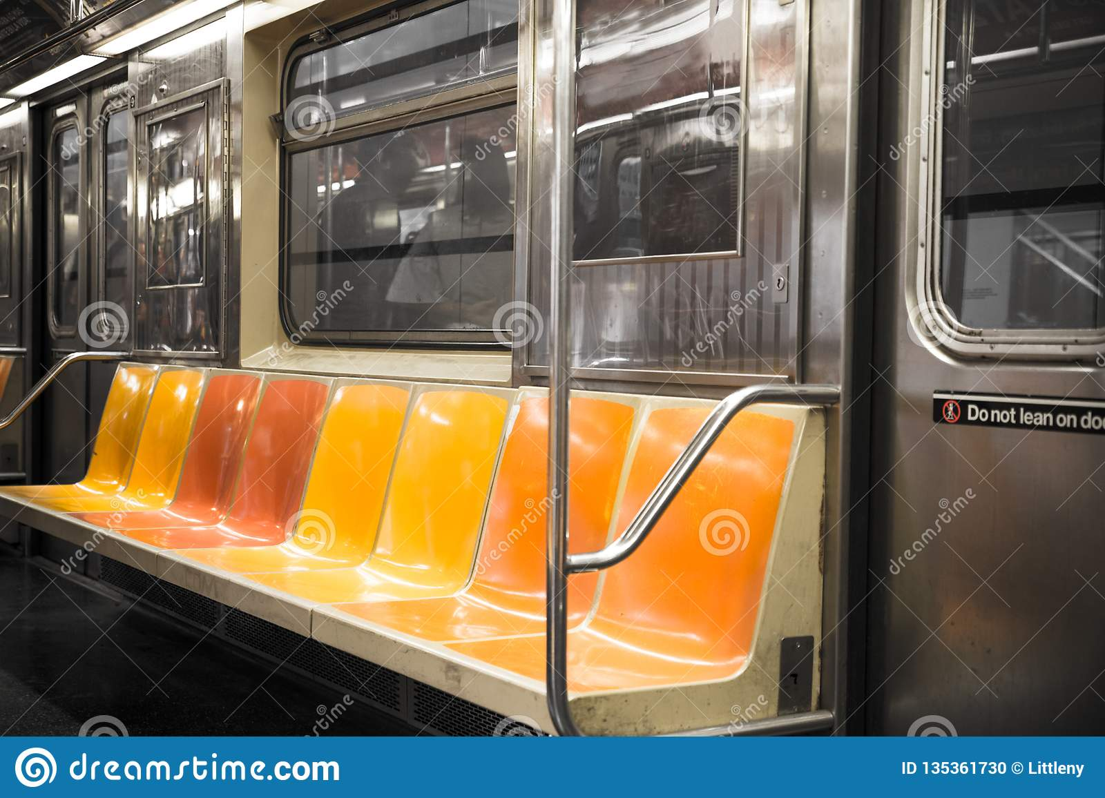 New York City Subway Car Seats Stock Photo Image Of Travel Queens