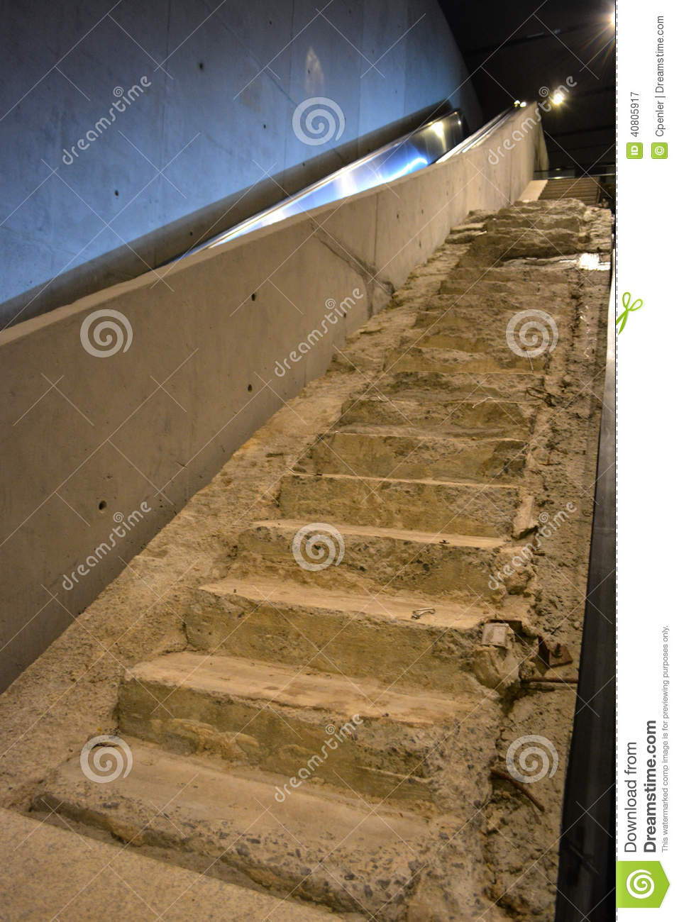 The survivor stairs from the original twin towers on display at the
